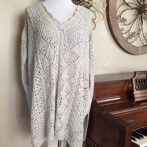 NWT Sonoma Size 1X 2X  Open Weave Sweater Poncho